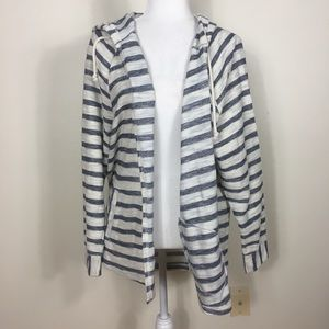 Maurices White and Blue Striped Open Sweatshirt